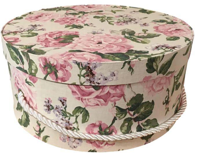 Decorative Fabric Boxes Hat Box In Pink Floral Ready To Ship French Cottage Decor Fabric