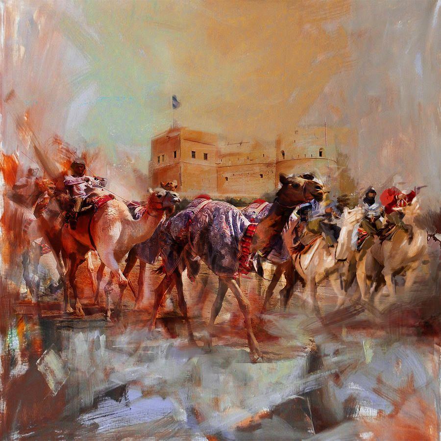 Camels And Desert 37 by Mahnoor Shah | Peinture orientaliste, Peinture, Art