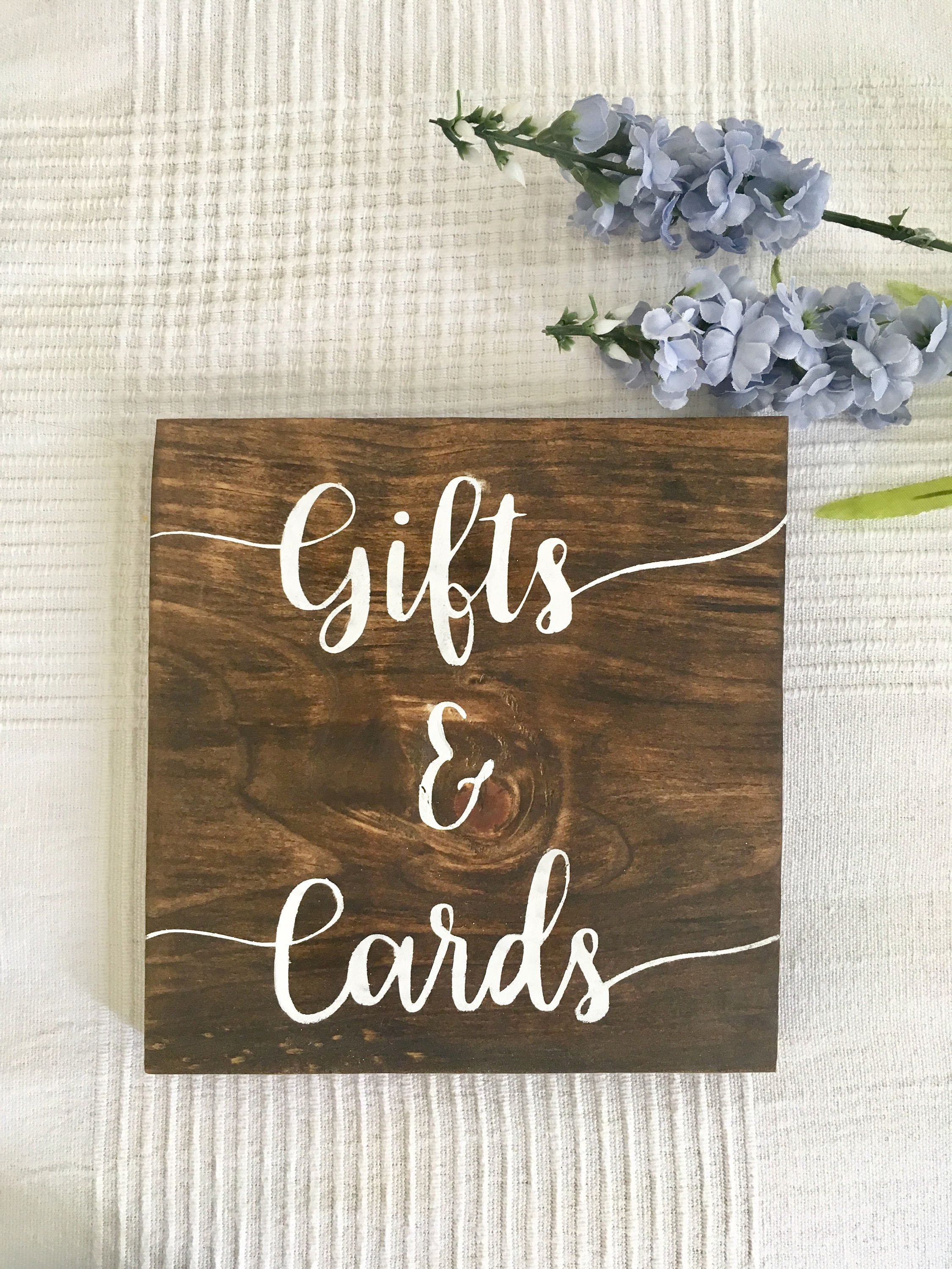 Gifts And Cards Sign Wooden Wedding Table Signs Used Decor Rehearsal Dinner Rustic Bridal Shower I Do Bbq Centerpiece