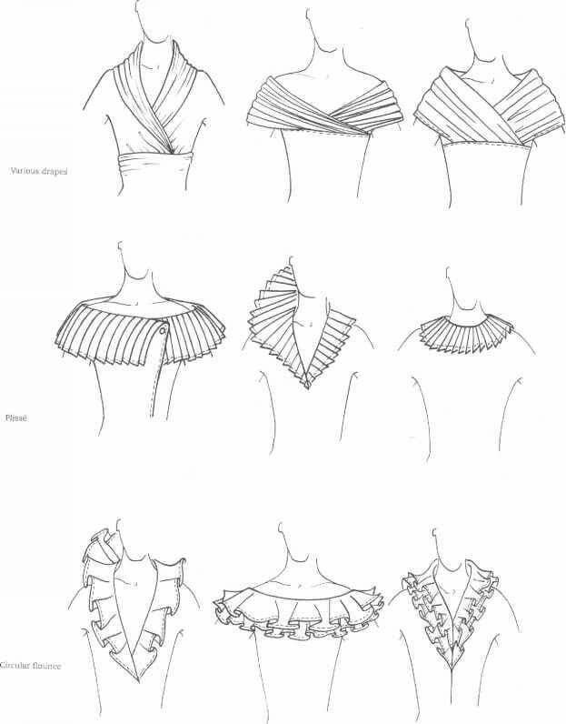 Neckline Drawing : Neckline different collars and patterns