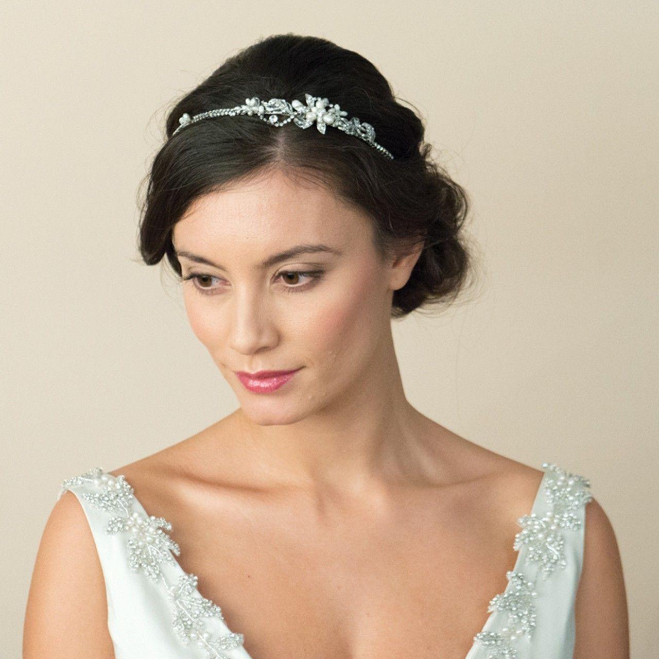 Hair accessories headbands uk - Wedding Side Headband With Fine Diamante Detailing