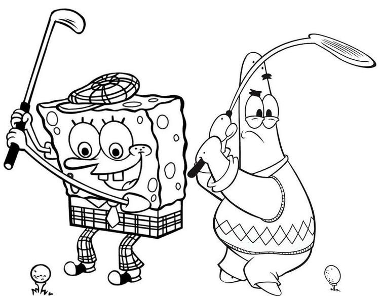 Patrick And Spongebob Golf Coloring Page Star Coloring Pages
