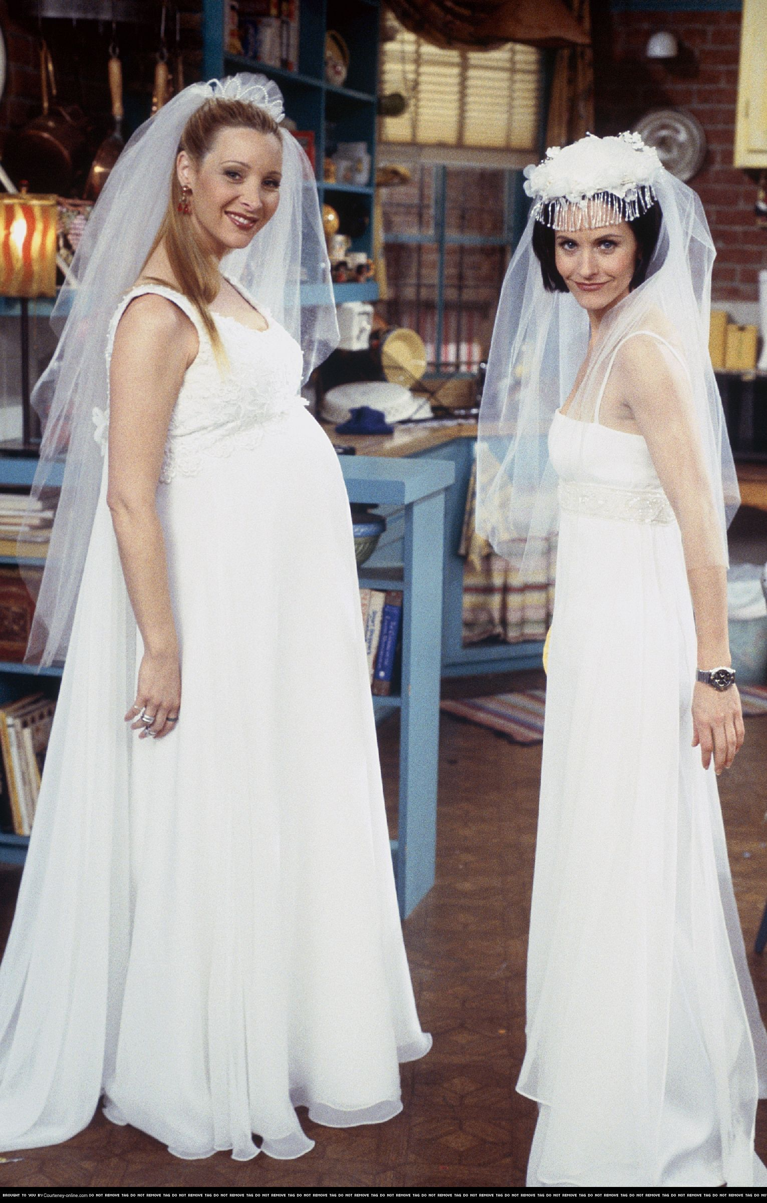 Phoebe and monica with wedding dresses friends pinterest for Friends wedding dress