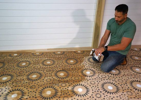 Stencil A Moroccan Pattern On A Wood Floor Home Repaired - Cutting edge wood floors