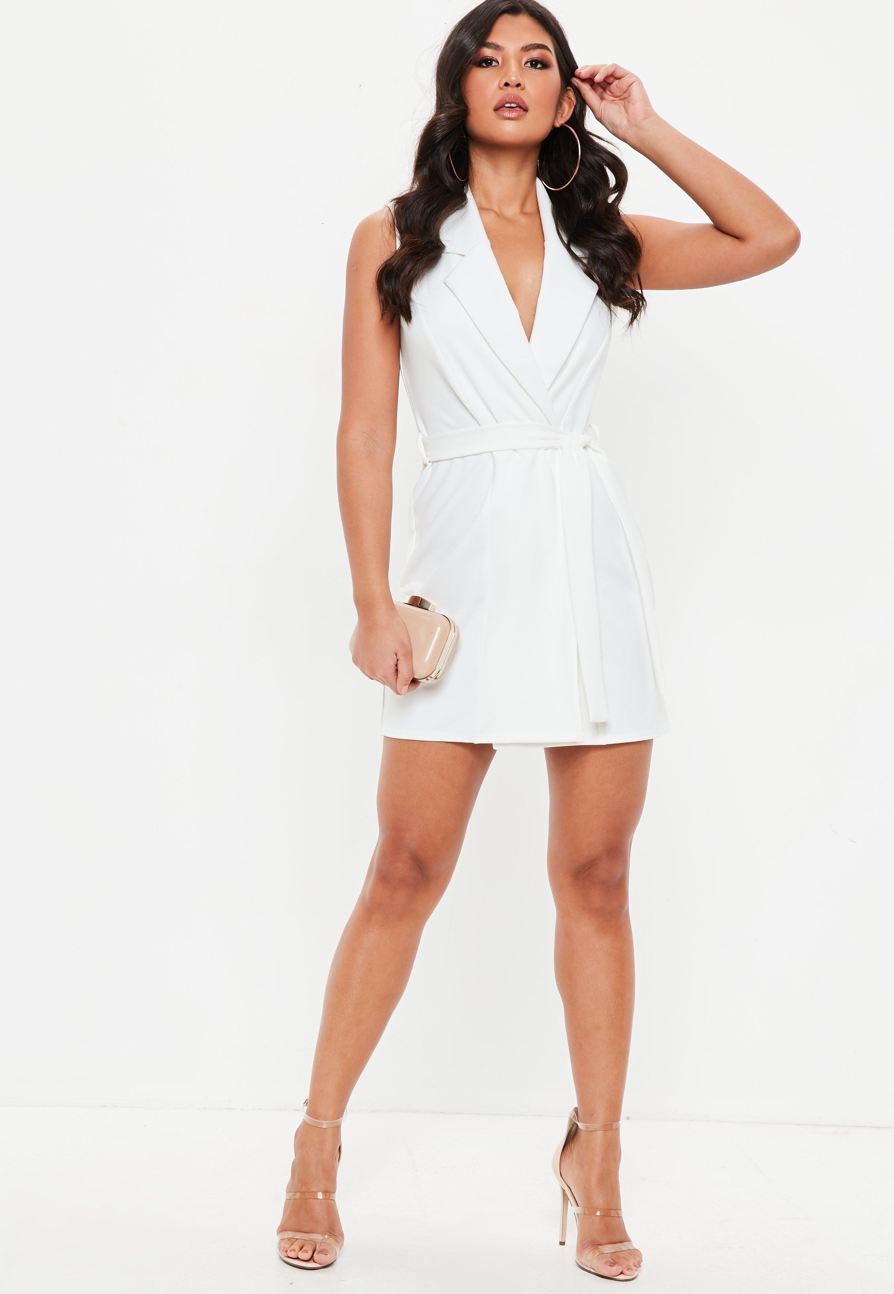 56c9e4b9bb1 White Sleeveless Stretch Crepe Blazer Dress  Sponsored  Stretch