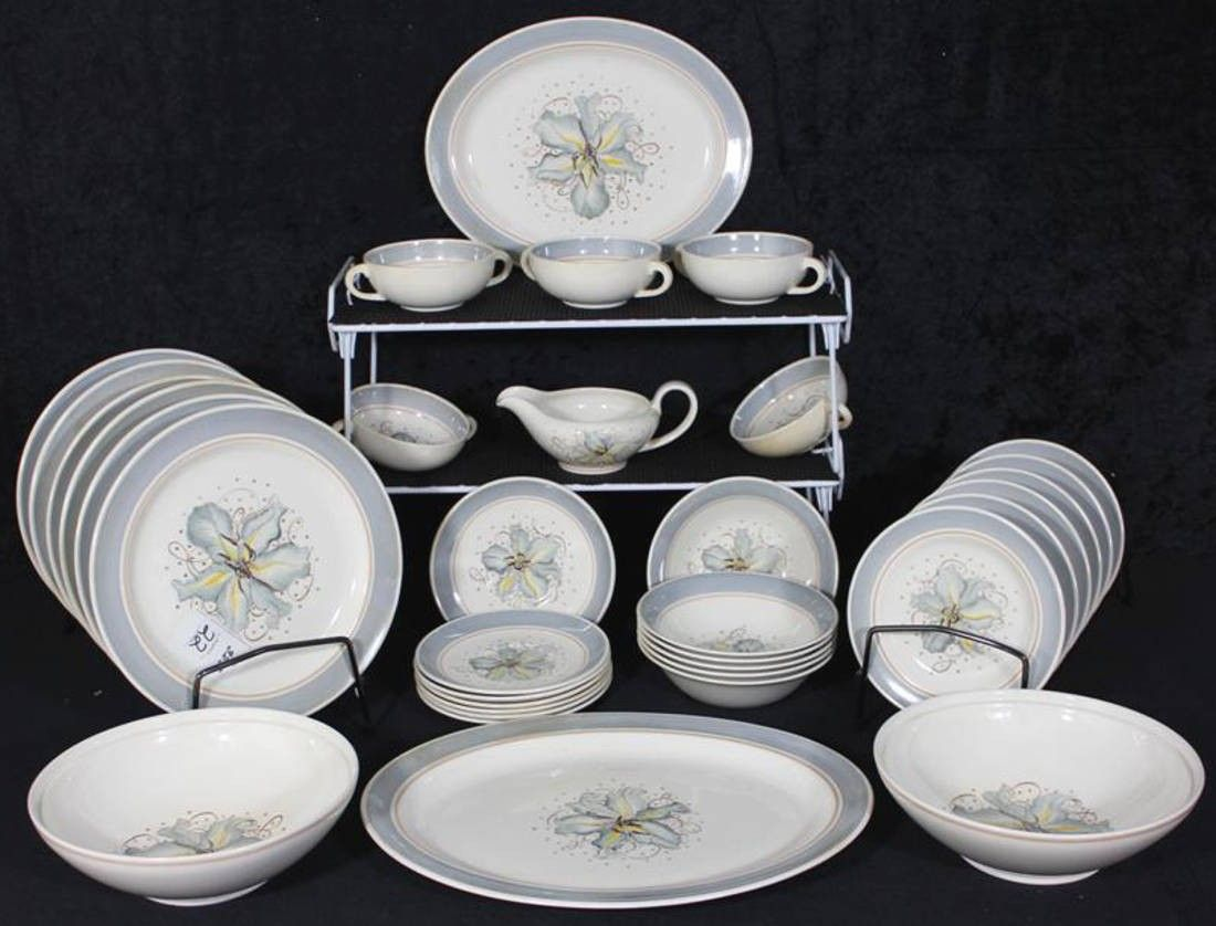 Susie Cooper Production Blue Orchid Pattern Dinnerware