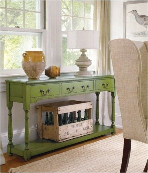 Painted table by Loobylou, avocado green