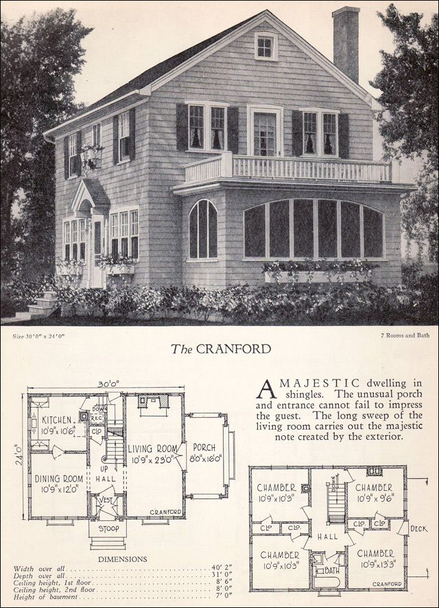 1928 colonial revival with second story porch for the for Antique colonial house plans