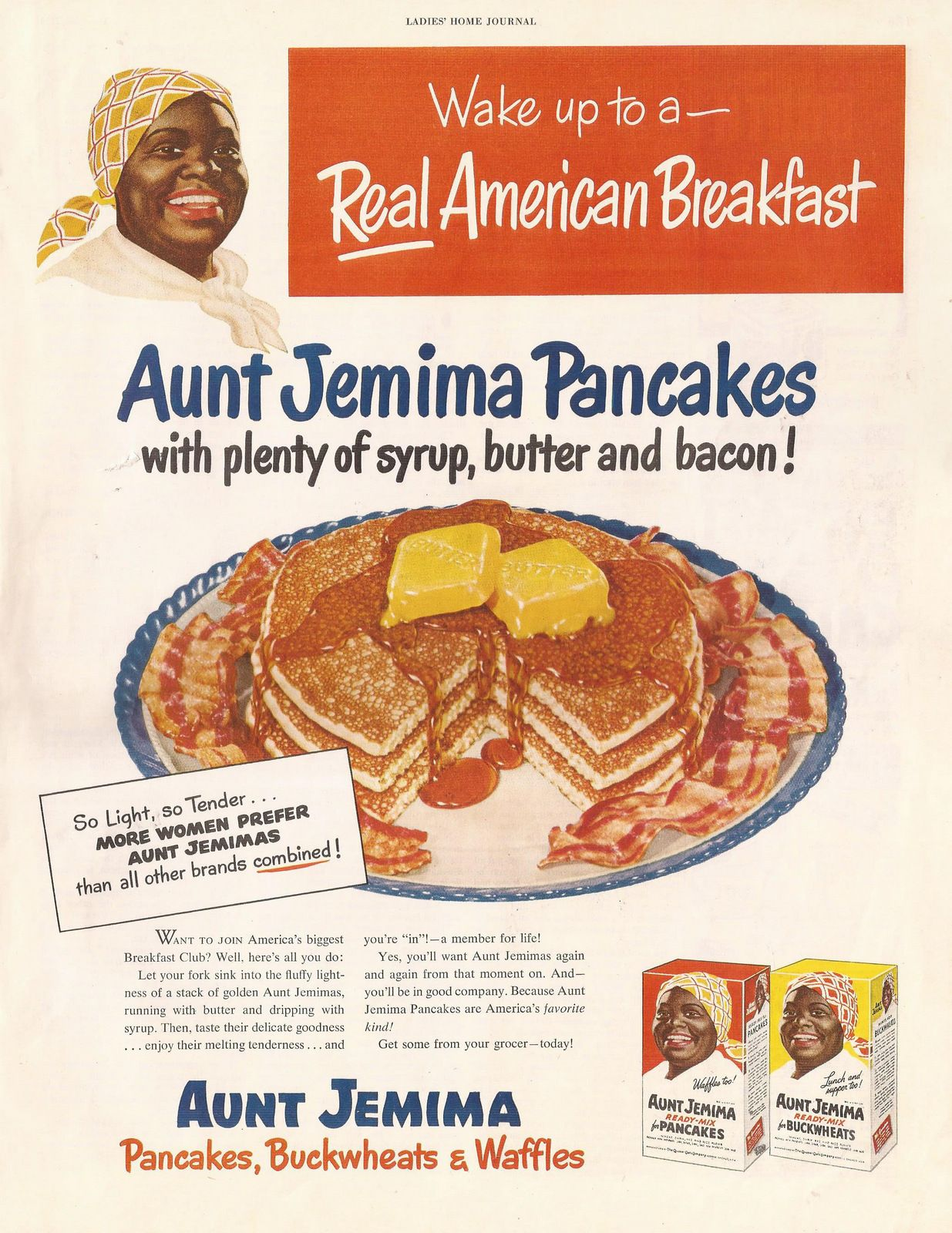 aunt jemima kitchen curtains 8 island pancakes ad from ladies 39 home journal