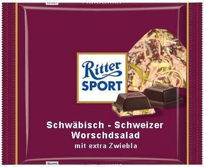 ritter sport fake schokolade schw bisch schweizer. Black Bedroom Furniture Sets. Home Design Ideas