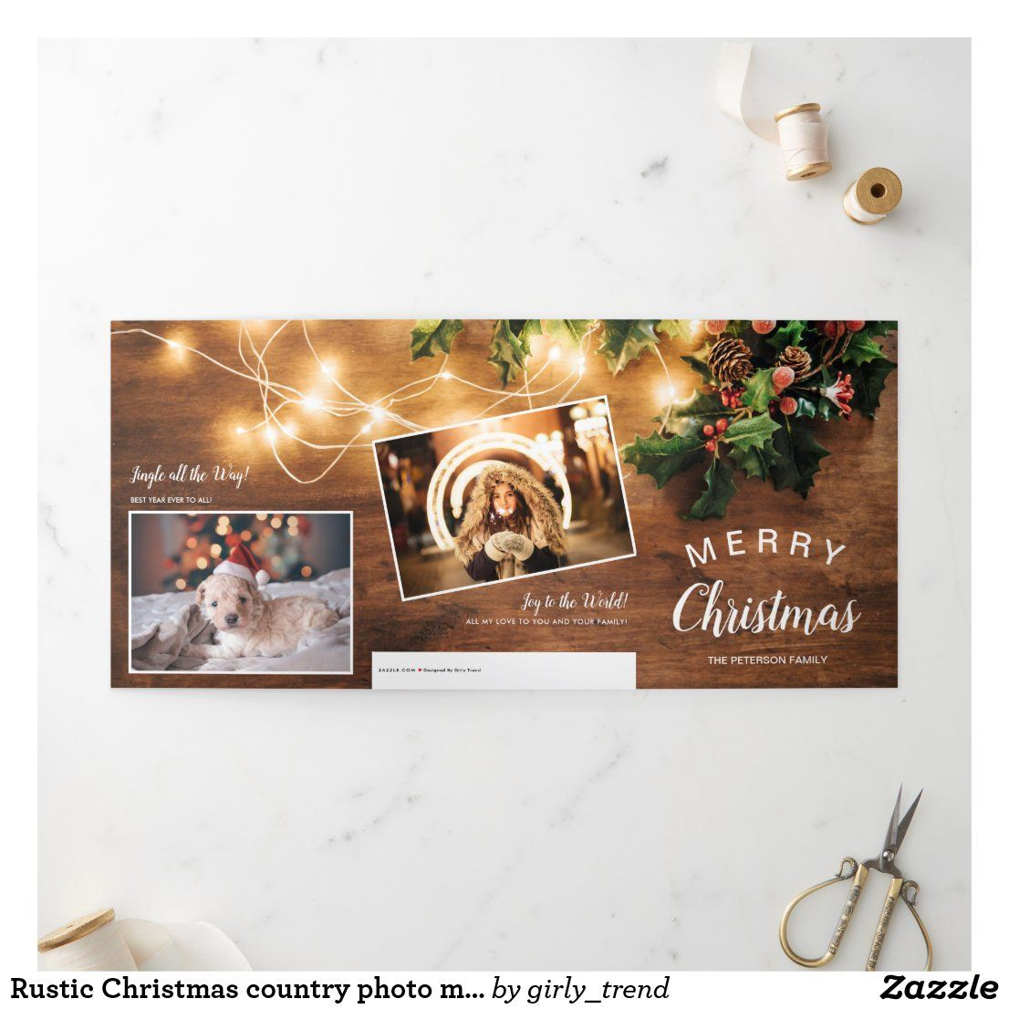 Rustic Christmas Country Photo Mistletoe Light Tri Fold Holiday Card Zazzle Com Folded Holiday Cards Happy Holiday Cards Christmas Holiday Cards