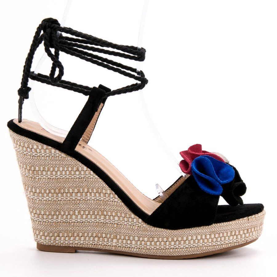Seastar Wiazane Sandalki Na Koturnie Czarne Ankle Sandals Plastic Heels Womens Sandals
