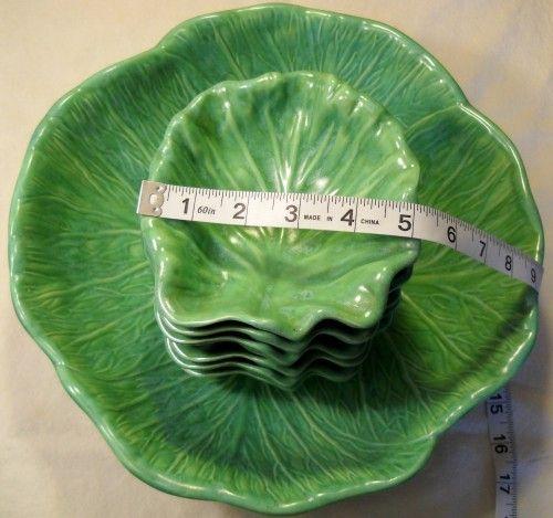 Holland Mold green leaf bowl | Vintage Holland Mold Cabbage Bowl Set 7 Piece Set