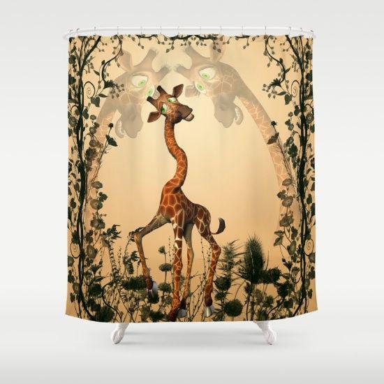 Perfect Funny Giraffe Shower Curtain