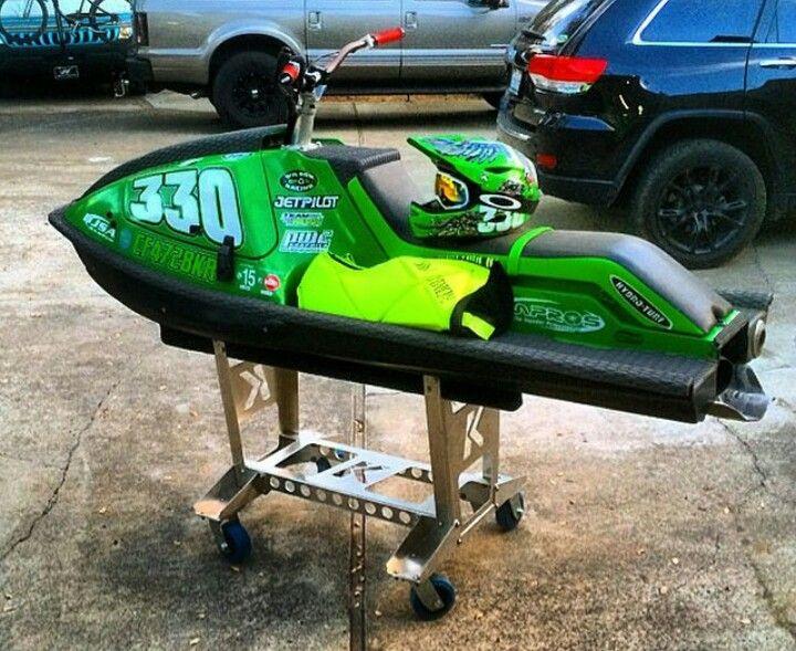 X2 With A Nicly Built Shop Stand Jet Ski Kawasaki X2 Vintage Skis