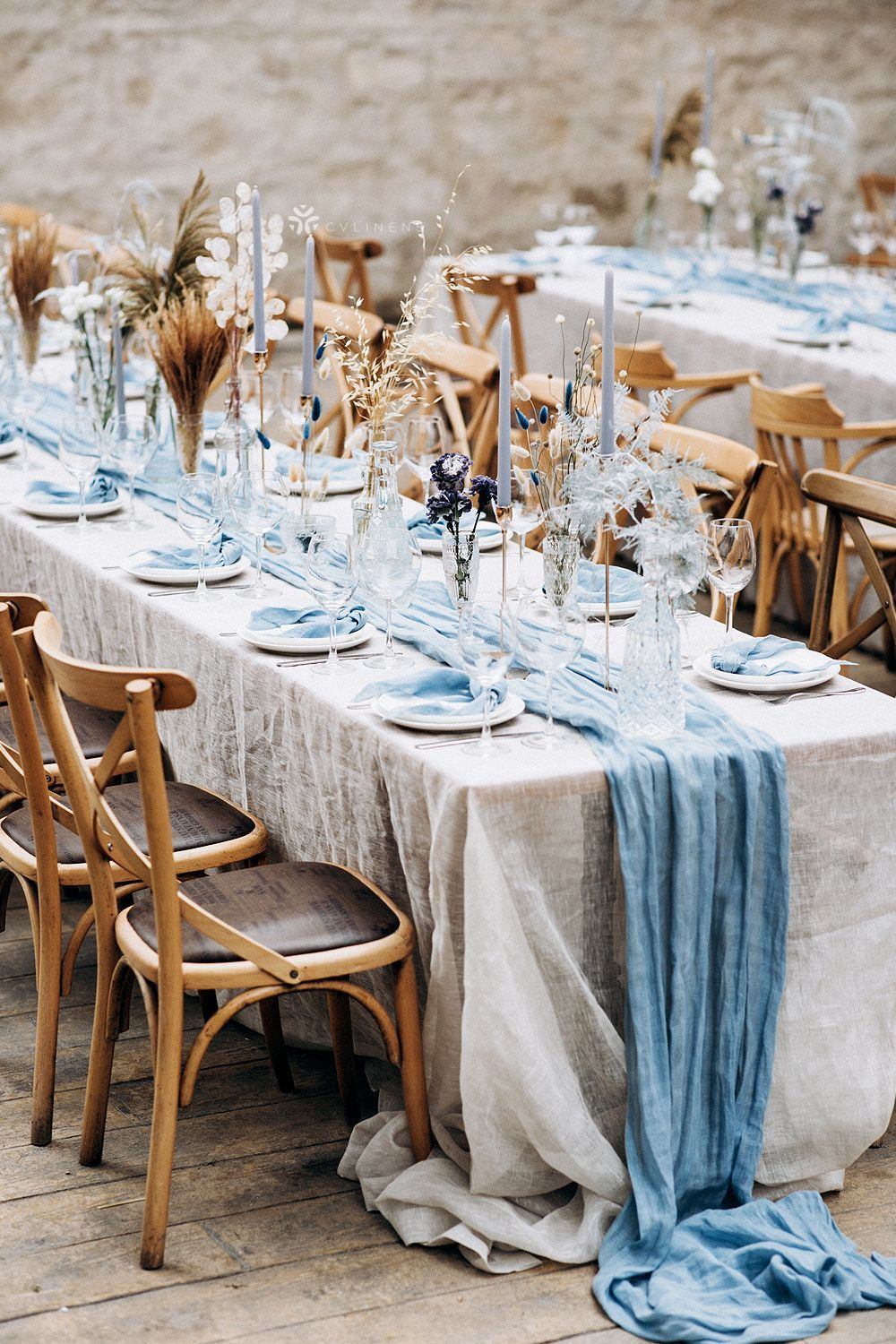 Beautiful Outdoor Dusty Blue Wedding Reception Boho Theme With Pampas Grass Centerpieces In 2021 Blue Wedding Receptions Baby Blue Weddings Blue Fall Wedding