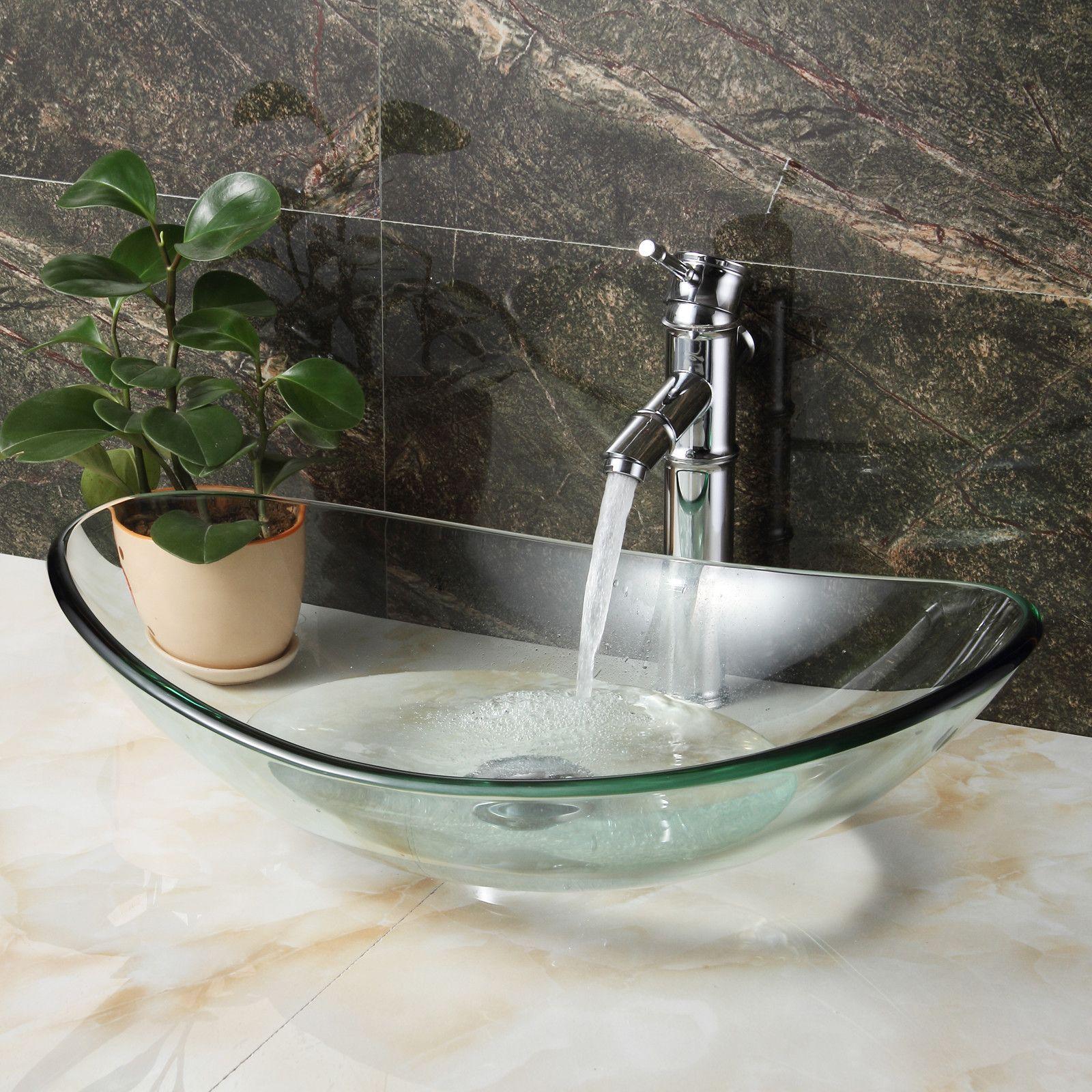 Tempered Glass Oval Vessel Bathroom Sink Bathroom Sink Bowls Bathroom Sink Sink