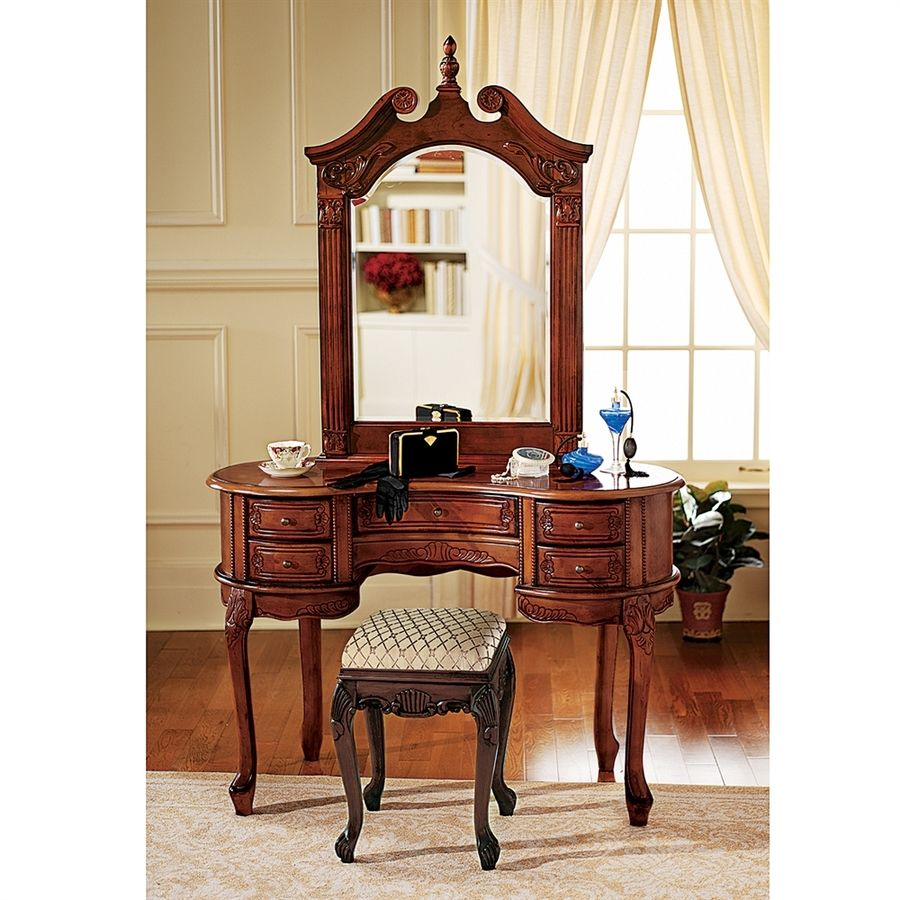 Design Toscano Queen Anne Dressing Table And Mirror Brown Makeup ...