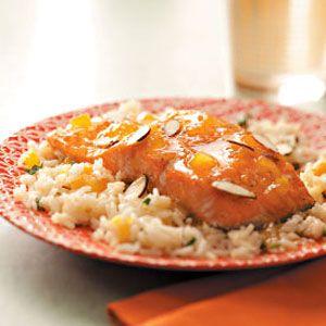 Apricot Glazed Salmon With Herb Rice Recipe Salmon Recipes Recipes Herb Rice Recipe
