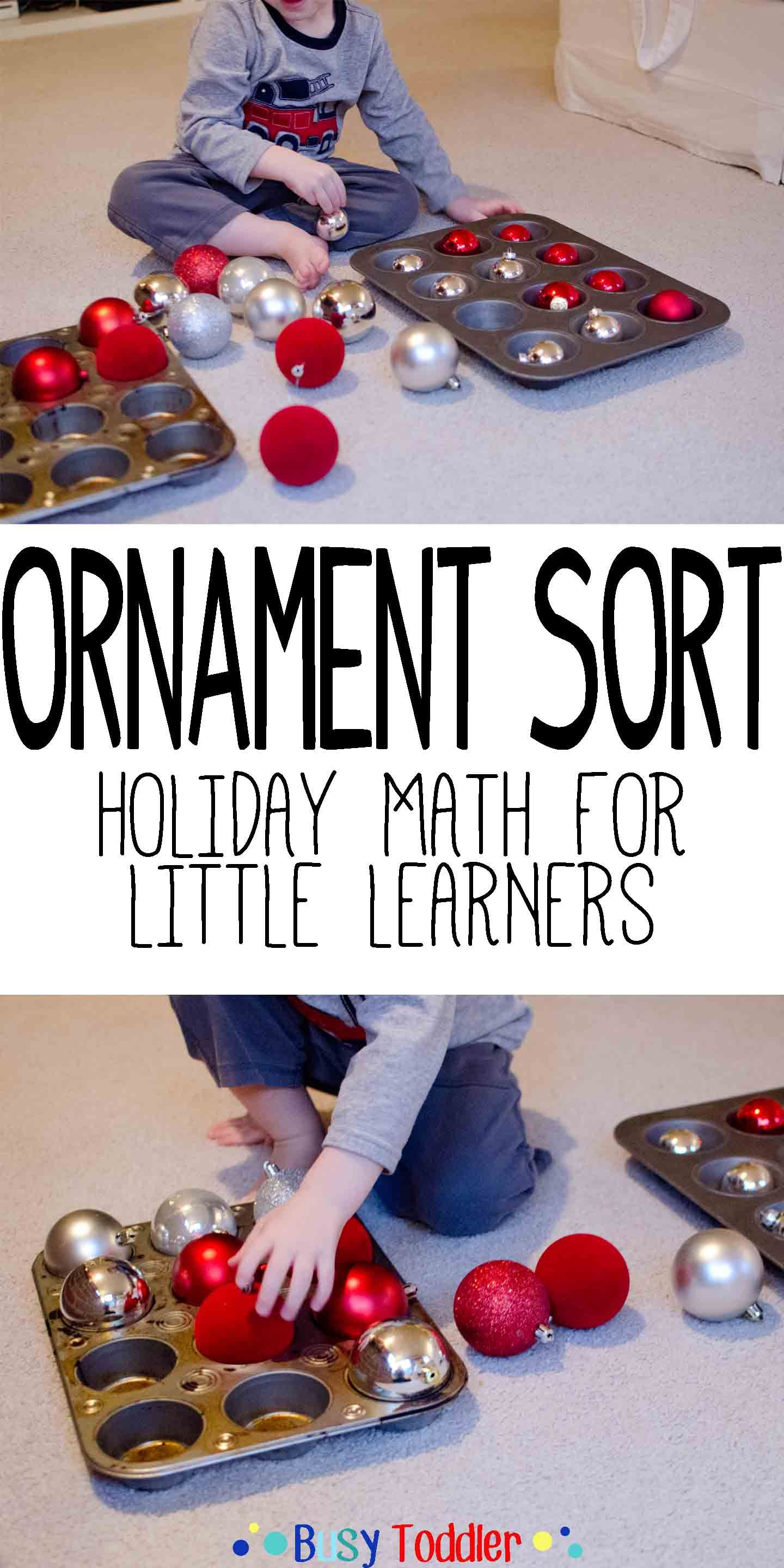 Ornament Sorting Holiday Math For Little Learners