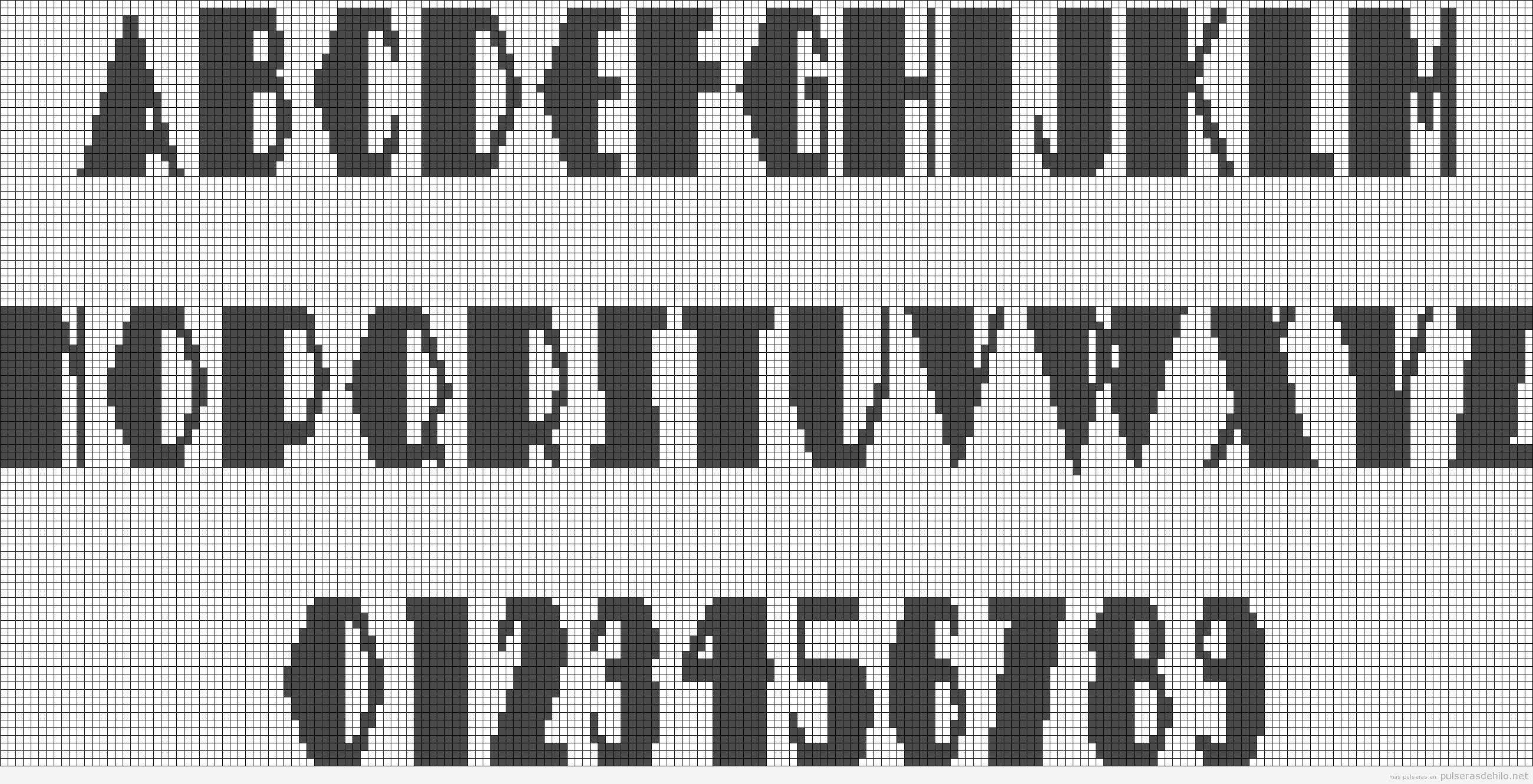 Plantillas alpha alfabeto para hacer pulsera de hilo con nombres 2 ...