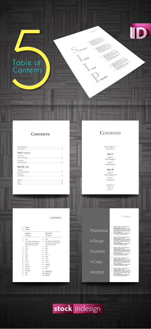 5 Amazing Table of Contents for Adobe InDesign | Design | Pinterest ...