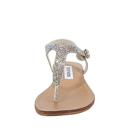 Beaminng Dusty Silver Women S Sandal Flat Steve Madden
