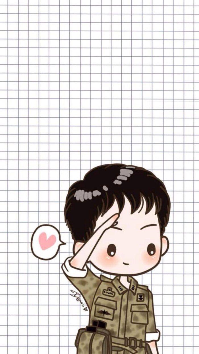 Wallpaper Cute Emojis กัปตันยู หมอคัง แบบการ์ตูน ภาพจาก ซีรีย์ ชีวิตเพื่อชาติ