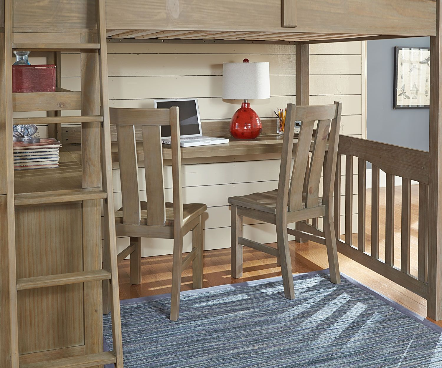 10080 Full Size Loft Bed with Desk in Driftwood finish