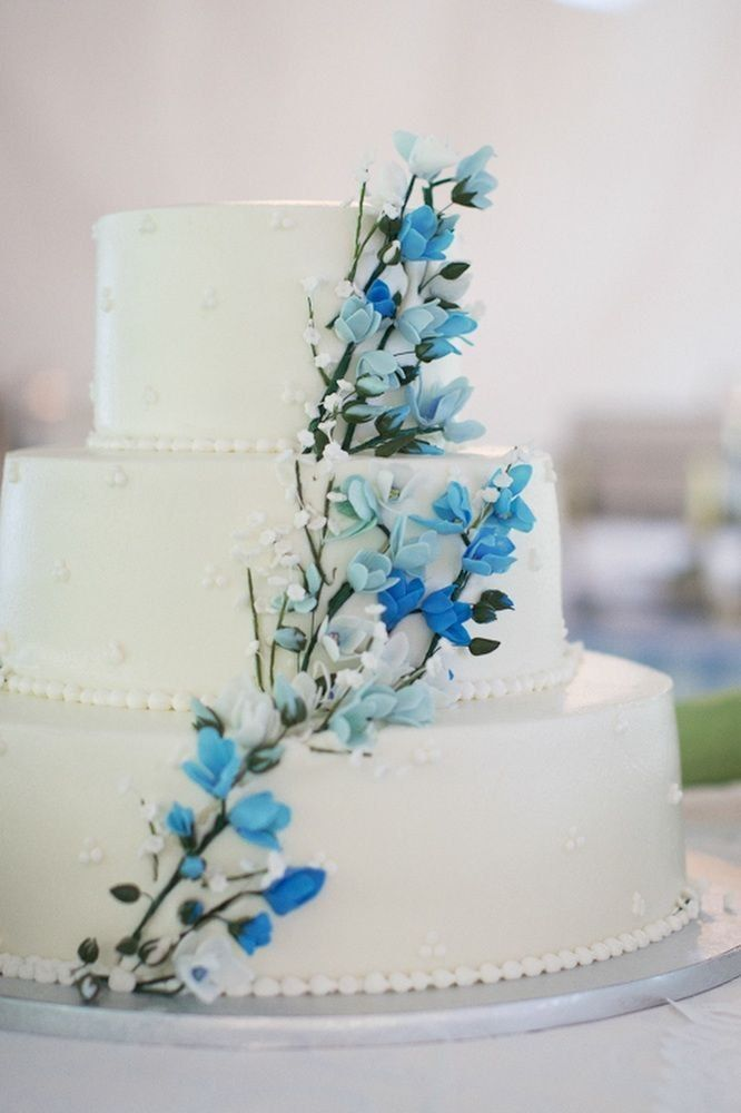 Blue Wedding Cake Flowers On White Elegant Outdoor