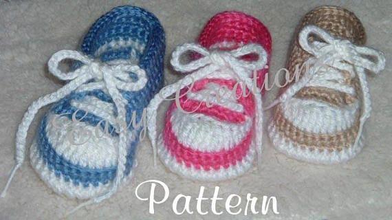 d2e02ab5f5433e CROCHET PATTERN Baby Tennis Shoes baseball sneakers converse booties 0 to  12 mo Boy Boys Girl Girls