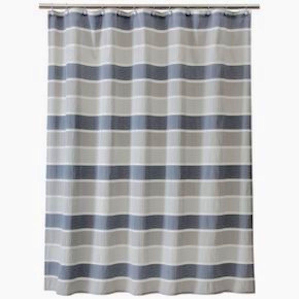 Threshold Seersucker Shower Curtain Gray Wide Stripes Polyester 72