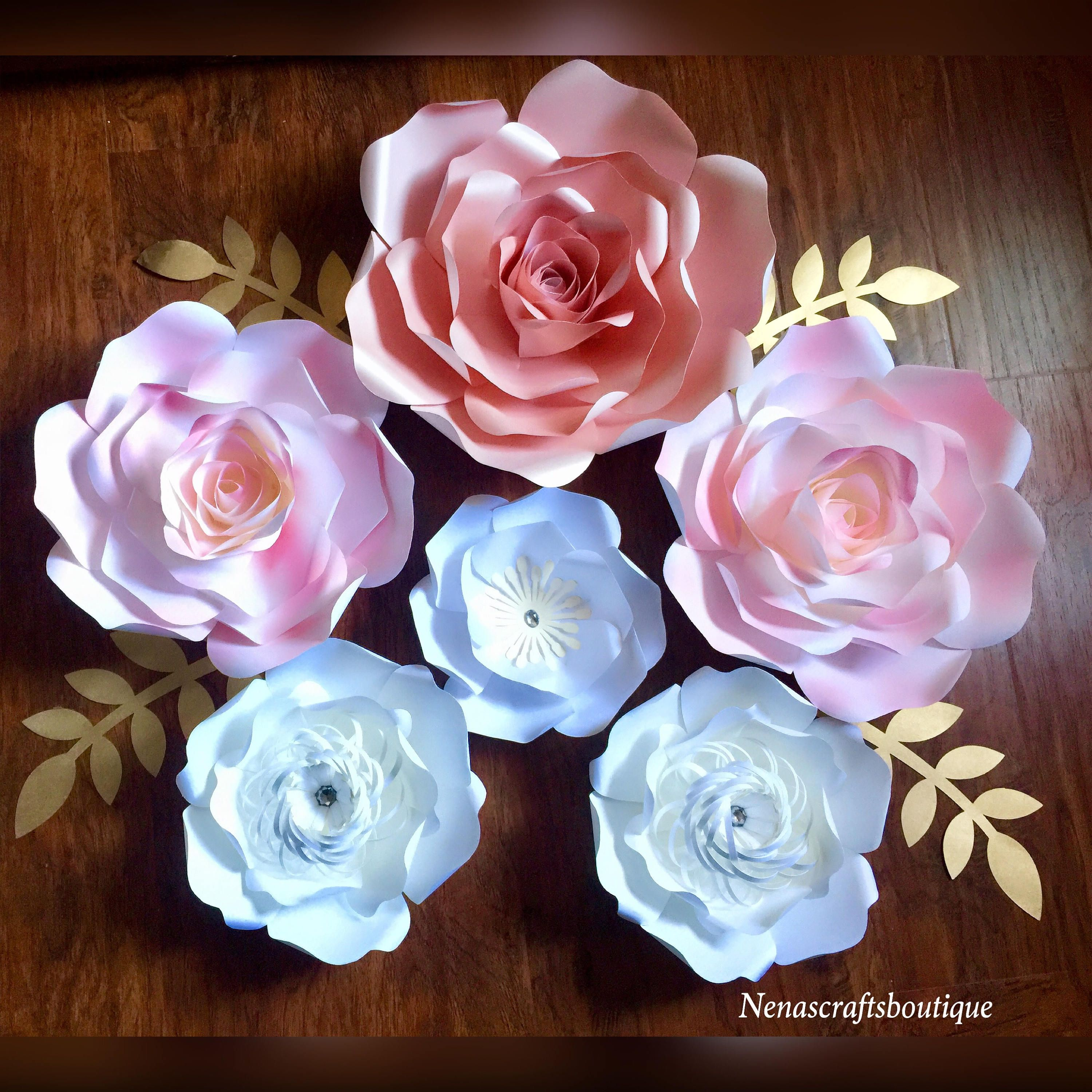 Large and medium paper flowers  backdrops  nursery decor baby