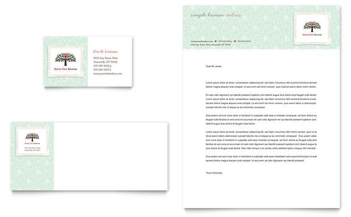 Senior Care Services Business Card And Letterhead Design Template