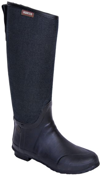 Hunter Lady N Black Canvas Rubber Rain Boot Shoes at ...