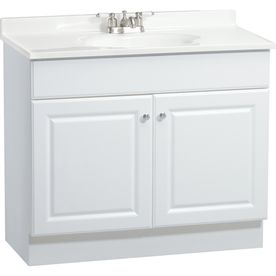 Project Source 36 In X 19 In White Integral Single Sink Bathroom Vanity  With Cultured Marble Top  For Downstairs 1/2 Bath