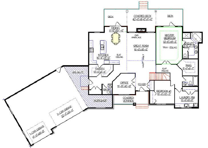 Bungalow Plan 2011580 With Angled Garage By E Designs Garage Floor Plans Rambler House Plans Bungalow House Plans