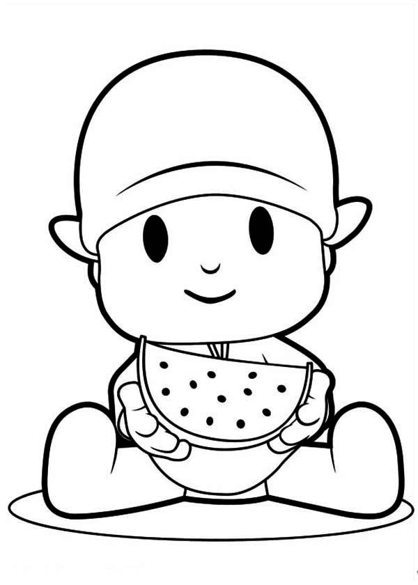 Pocoyo Eating Slice Of Watermelon Coloring Page Color Luna In 2020 Pocoyo Coloring Pages Coloring Pages For Kids