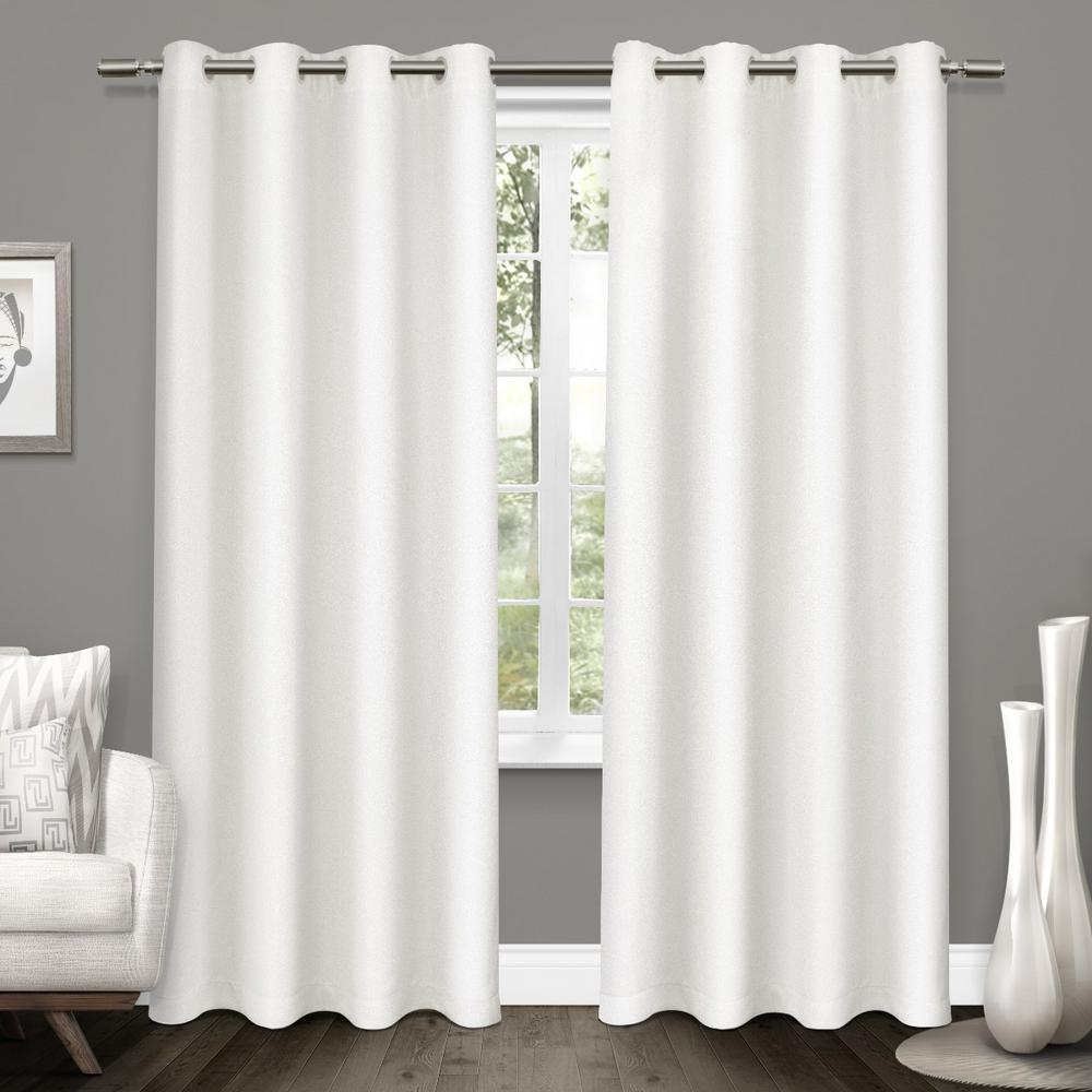 Amalgamated Textiles Tweed Winter White Textured Linen Blackout Grommet Top Window Curtain White Blackout Curtains Home Curtains Drapes Curtains