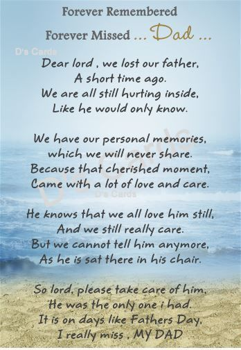In loving memory/card/keepsake/Grave/flower/ Dad/ fathers ...