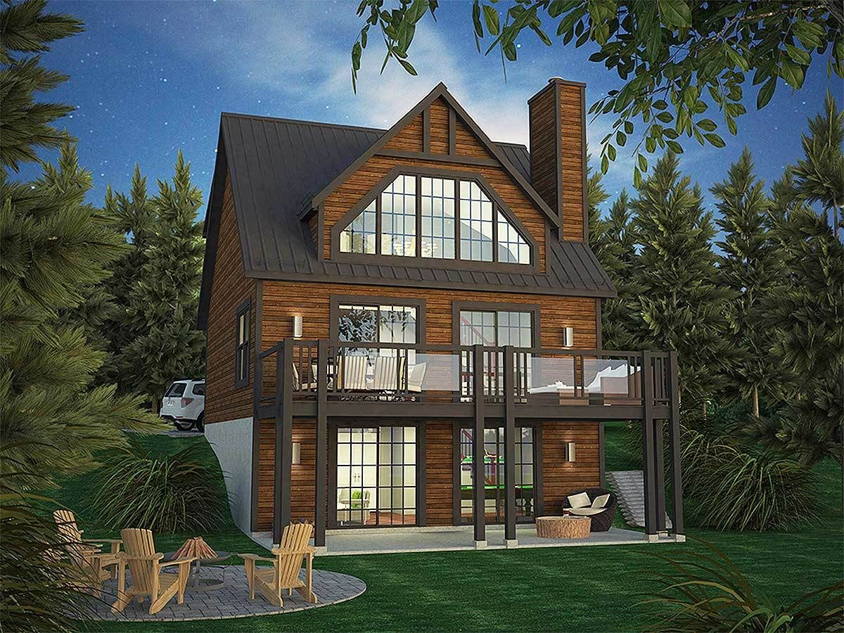Plan 90297pd Vacation Home Plan With Incredible Rear Facing Views Vacation House Plans Narrow Lot House Plans Mountain House Plans