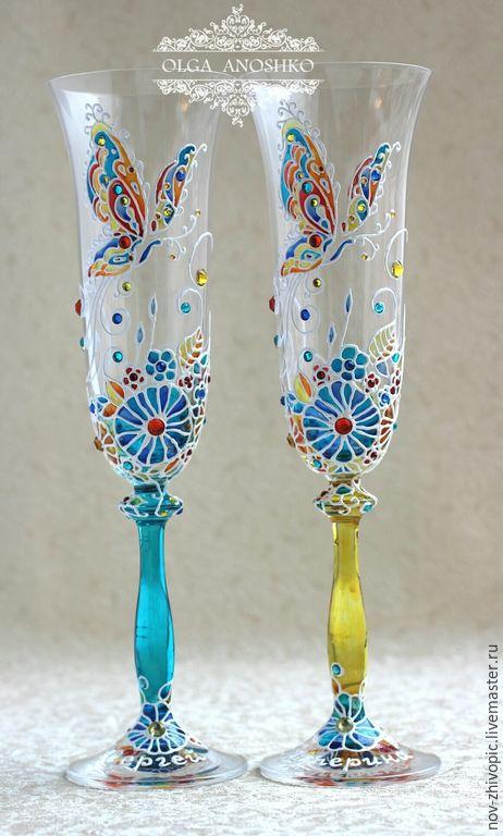 """Купить Свадебные бокалы """"Полет Бабочки"""" в новой форме бокала. Роспись. - свадебные бокалы"""