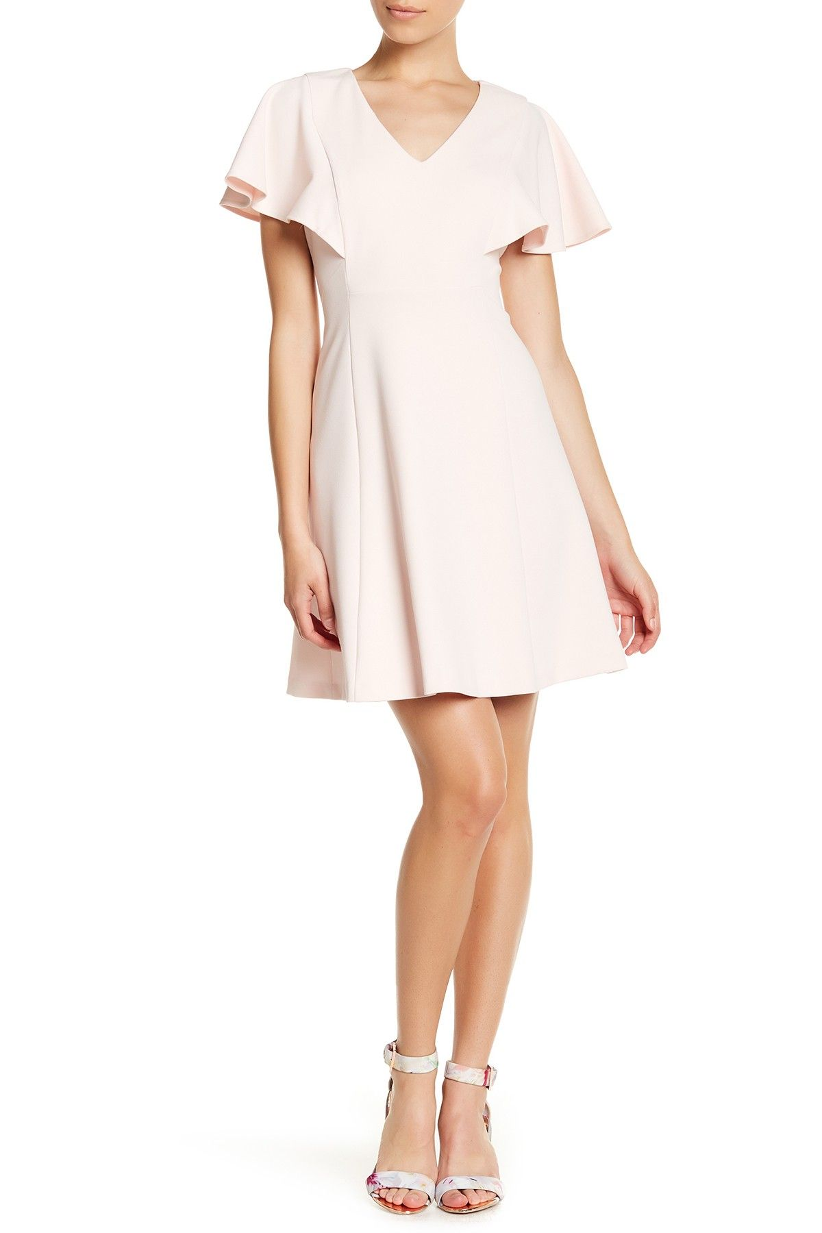 Short Sleeve Flutter Sleeve Dress (Petite)
