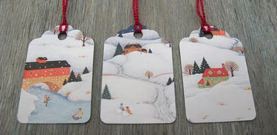 Labels made from Chrismas cards; good way to recycle and save a little $$