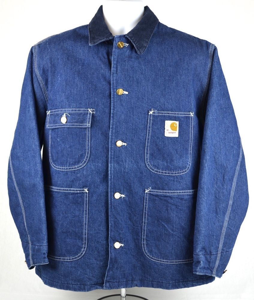 Vintage Carhartt Denim Jean Coat Jacket Mens Size 42 Large Blanket Lined Jeans Coat Jackets Denim Jacket Jean Coat [ 1000 x 847 Pixel ]
