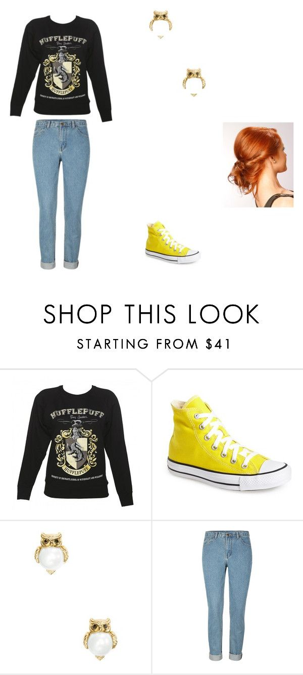 """Hufflepuff"" by oceanlover1928 ❤ liked on Polyvore featuring Converse and Kate Spade"