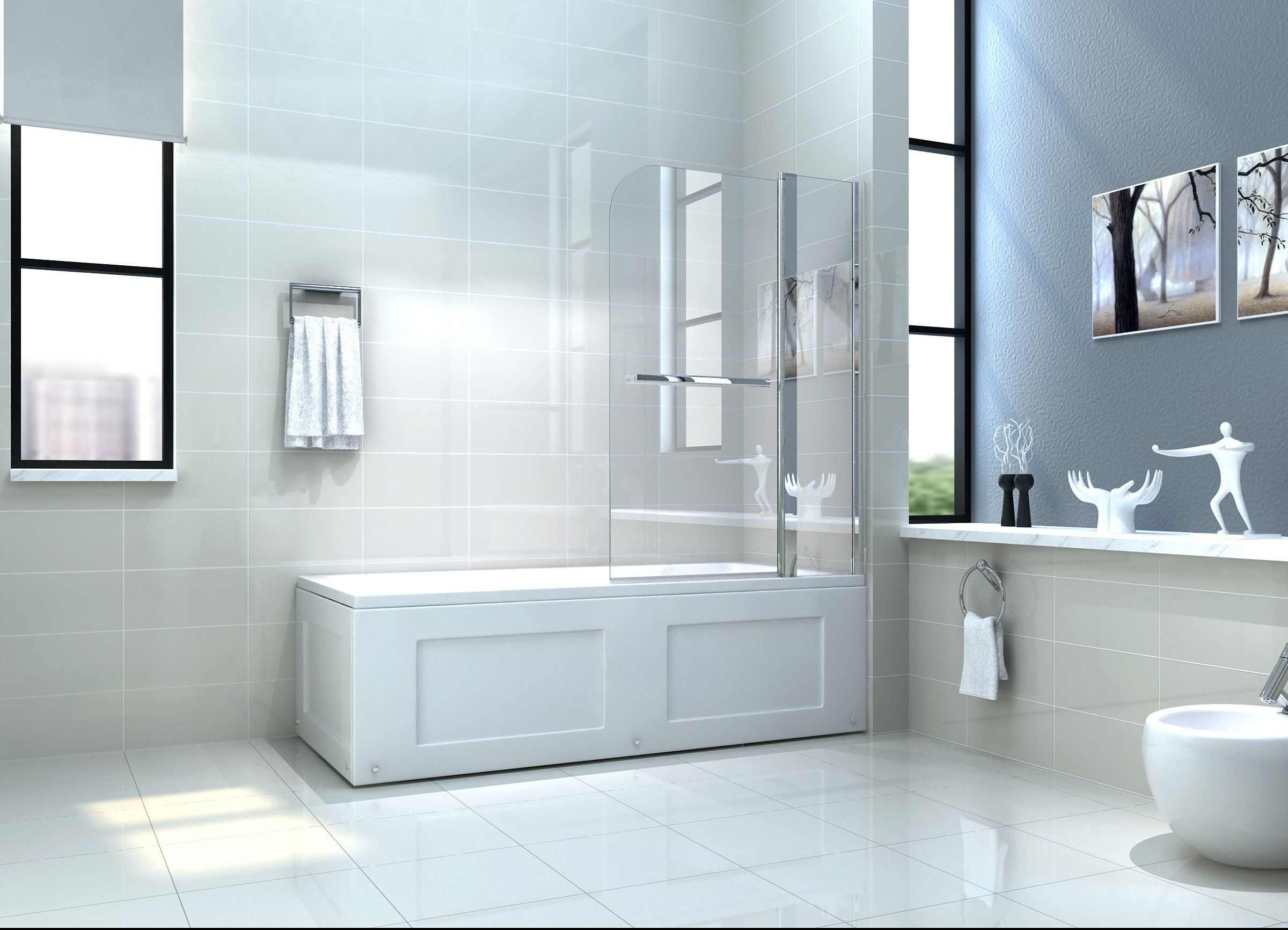"Contemporary Master Bathroom with Crema Marfil Honed 6"" x"