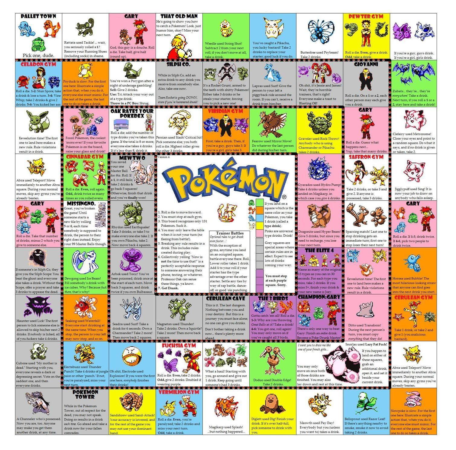 Pokemon drinking board game pdf