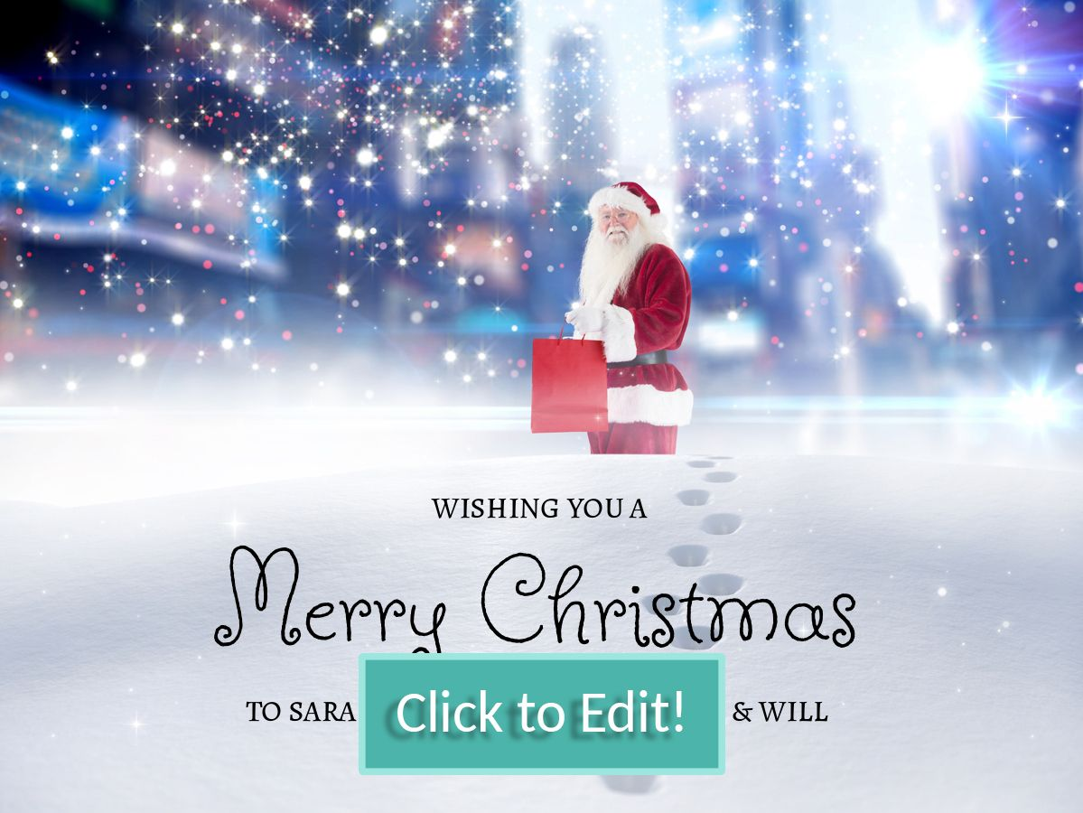 Santa Claus Carrying A Gift In The Middle Of A Big City At Night On A Personalizable C Christmas Card Template Diy Christmas Cards Personalised Christmas Cards