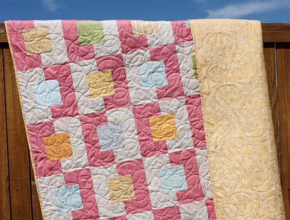 Noteworthy Lap Quilt Handmade Pink Yellow Cream by JennyMsQuilts, $250.00